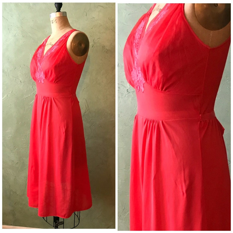 Size 34 Vintage 1950\u2019s Classic Romantic Red Lorraine Nightgown Negligee