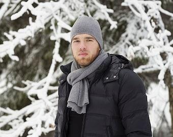 Grey cashmere scarf for men, merino wool blanket scarf, minimalist scarf