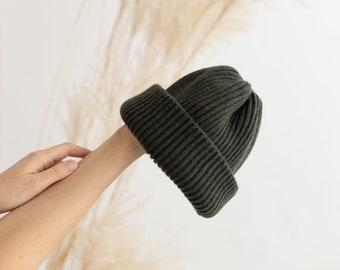 Unisex fisherman hat, chunky knit beanie, knit ribbed hat, soft merino wool watch cap, cuffed beanie hat