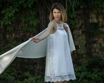 Ivory white knit wrap scarf, wedding cape shawl, knit shoulder cover, bridal cover up, bridesmaids wrap, kashmiri shawl, formal lace shawl