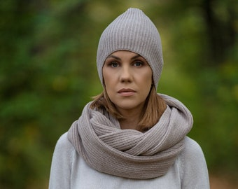 Cashmere hat, merino wool slouchy beanie, fisherman beanie, cashmere beanie, knit winter hat