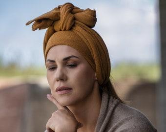 Africa style turban headband, knotted head wrap, cashmere hair wrap, boho merino wool mustard head scarf, soft kashmiri shawl