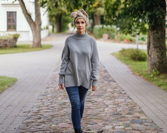 Balloon sleeves chunky knit sweater, grey cashmere sweater, oversized sweater, turtleneck sweater, wool jumper