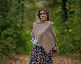 Beige cashmere scarf, knit kashmiri shawl for shoulder, lightweight merino wool scarf for women, cashmere travel wrap, autumn accessories