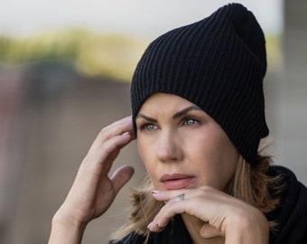 Black beanie hat, knit slouchy beanie, soft merino wool unisex fisherman hat, warm handmade cap, ribbed winter hat for outdoor activities