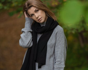 Black cashmere shawl, knit blanket scarf, warm soft merino wool shawl wrap, oversized scarf, travel accessory
