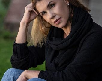 Black wool shawl, soft cashmere scarf, merino wool blanket, dark travel wrap, handmade knitted scarves for women