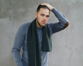 Olive green cashmere blanket scarf for men, fisherman scarf, cashmere scarf, knitted neckwear, winter gift for him
