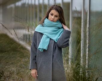 Cashmere blanket scarf, luxury merino wool travel wrap, soft mint green kashmiri shawl, fall winter bridal shawl for shoulder
