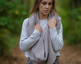 Cashmere loop scarf, beige merino wool hooded cowl scarf, warm shoulder wrap, infinity tube scarf, scarves for women