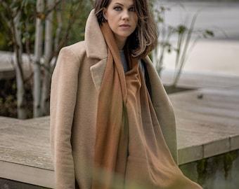 Russet cashmere wrap, knit mustard brown cashmere blanket shawl, luxury merino wool autumn scarf for shoulder