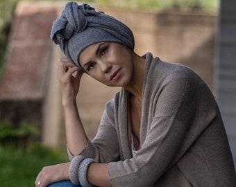Grey cashmere shawl, knotted headband, africa head wrap, handmade knitted boho head scarf, hippie style turban femme
