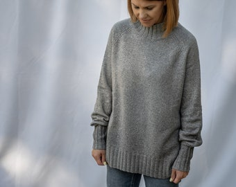 Balloon sleeves chunky knit jumper, grey merino wool turtleneck hoodie, loose knit sweater, soft cotton pullover