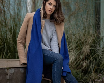 Royal blue cashmere blanket scarf, oversized shawl for shoulder, luxury travel wrap, soft merino woll scarves for women