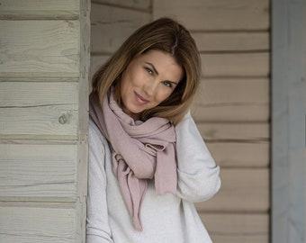 Pink cashmere wrap, luxury merino wool travel blanket scarf, soft hooded shawl, oversized shawl for shoulder