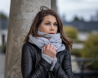 Grey cashmere wrap, soft merino wool shawl for shoulder, travel blanket scarf, practical useful gift ideas for women