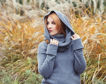 Grey merino wool hooded blanket, knitted chunky cowl neck warmer, soft shoulder wrap, infinity scarf, cashmere snood