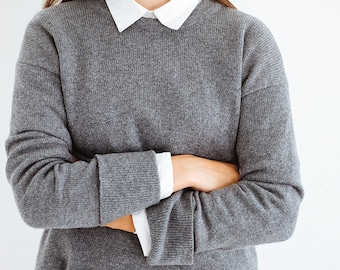 Grey cashmere minimalist sweater, merino wool jumper,  cashmere tunic, long sweater