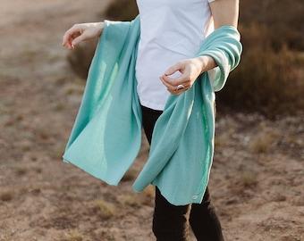 Soft mint green cashmere blanket scarf, luxury merino wool travel wrap, cozy kashmiri shawl for shoulder, oversized blanket