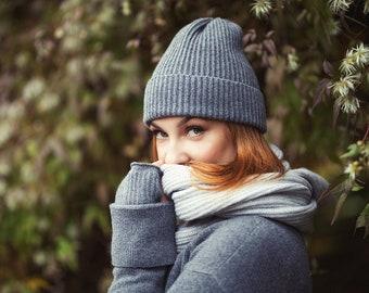 Cashmere beanie, merino wool slouchy hat, fisherman beanie, knitted beanie, booble hat