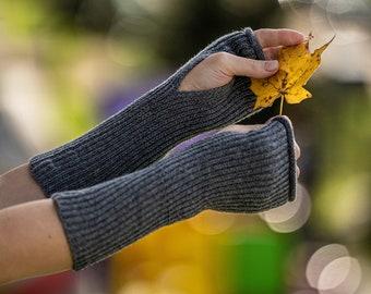 Grey cashmere fingerless gloves, knit wool wrist warmers, long gloves for women, wollen mittens, half finger gloves, hand warmers