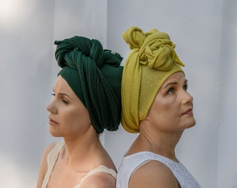 Chartreuse green african head wrap, boho style turban hat, cashmere head scarf, turban femme, knotted headband, merino wool scarf for women