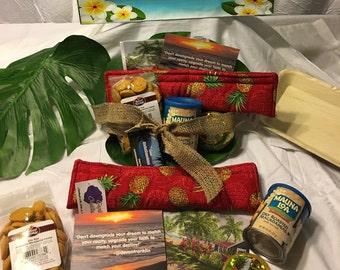 Hawaiian gift baskets, Thank you gifts, Birthday gifts, inspirational, Hawaiian Cookies, Hawaiian scents, Hawaiian fabric, different special