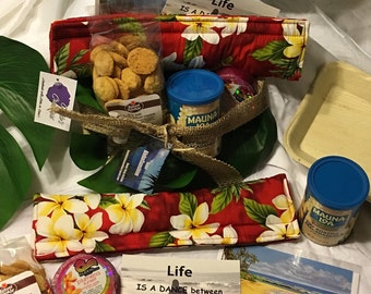 Hawaiian gift bag, Kauai gifts, birthday gifts, thank you gifts, cookies, inspirational, artist prints, Island scents, soaps, Hawaiianfabric