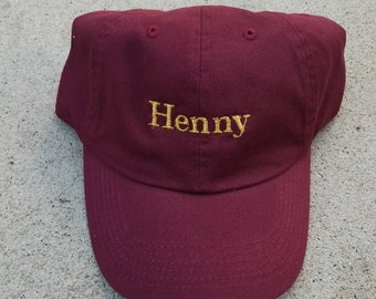 e403fac6 Henny Maroon Gold Embroidered Dad Hat