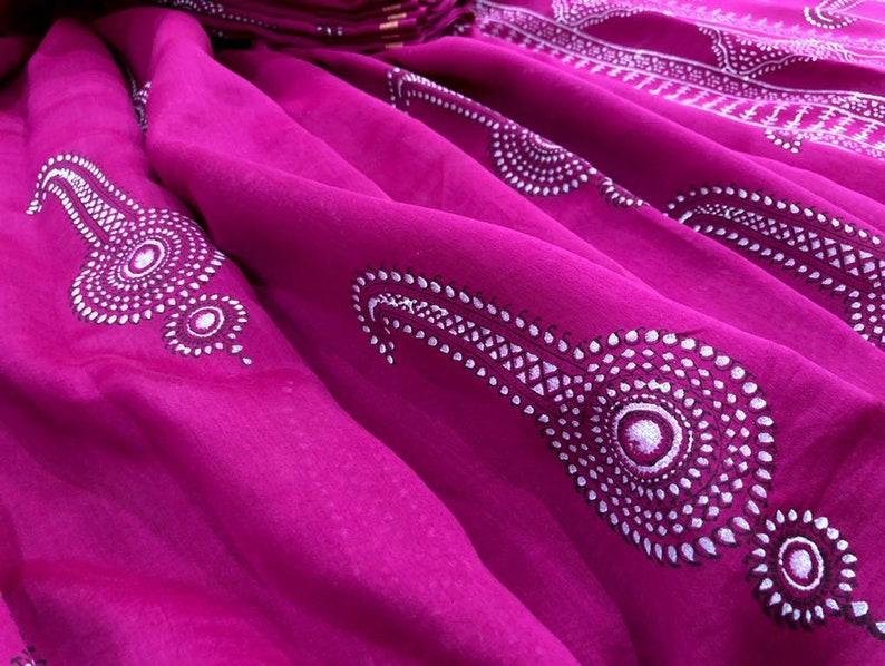 Magenta Pink Hand Block Printed Silk Chanderi Saree