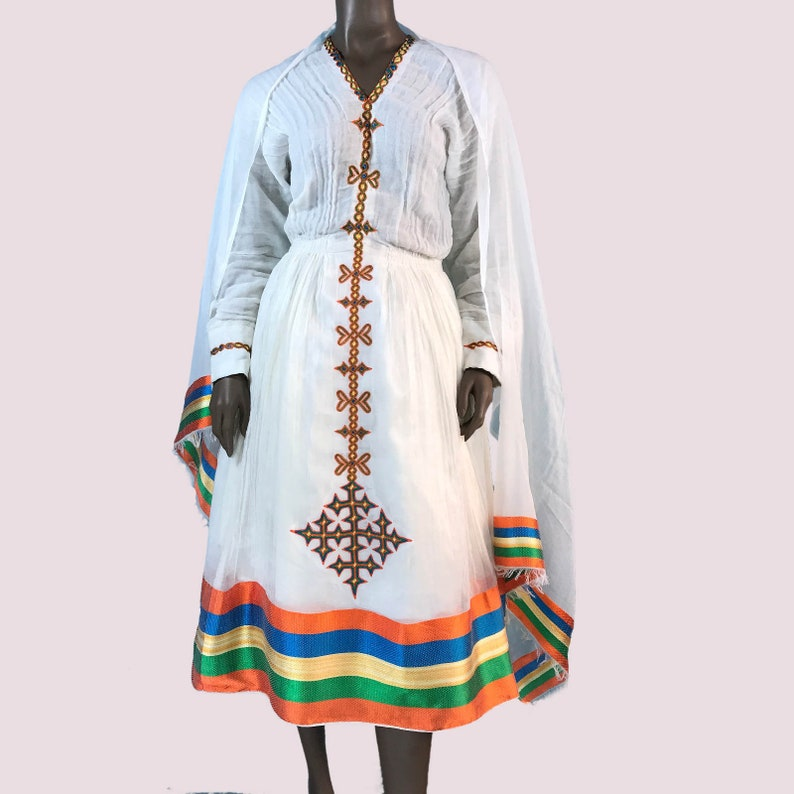 Ethiopian Dress  Traditional Habesha Kemis, Short Length, Women's Clothes   Cotton, Embroidered, African