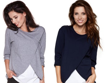2in1 Maternity shirt with still function still shirt still fashion maternity fashion maternity fashion women's fashion Large sizes model: LAVIS by be mama!