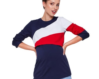 Stillshirt Shirt Maternity shirt with breastfeeding function Stillmode Maternity fashion Model: FRANKY by be mama!