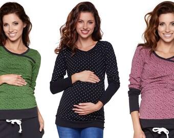 2in1 Umstandsshirt mit Stillfunktion Stillshirt Tshirt Stillmode Umstandsmode Schwangerschaftsmode Modell: MONIC von be mama!