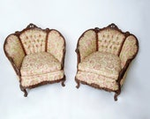 Pair of Early 20th Century Carved Victorian Belle Epoque Bergère Chairs