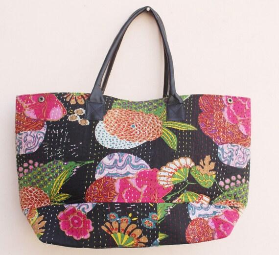 Design Floral noir Kantha sac Shopping Kantha main sac à bandoulière coton Kantha main sac plein air Bohème sac sac cabas Hobo