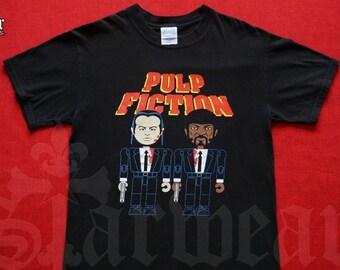 161a309a VTG PULP FICTION 90's Promo Tee Ft Samuel L Jackson & John Travolta Cartoon  Medicom Style Black Vintage T-Shirt Size Medium