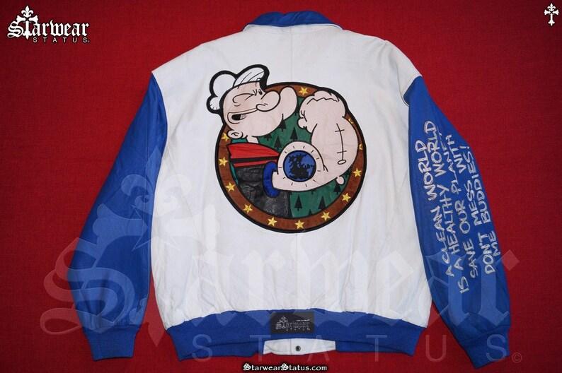 Vtg 90s Popeye The Sailor Cartoon Leather Patchwork Embroidered Motorcycle Jacket L XL Vintage 80s Comic Anime Biker Bomber Jacket Large