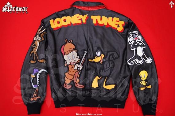 Vintage 90s Looney Tunes Leather Bugs Bunny x Elmer Fudd Warner Bros Black Cartoon Bomber Biker Jacket M L