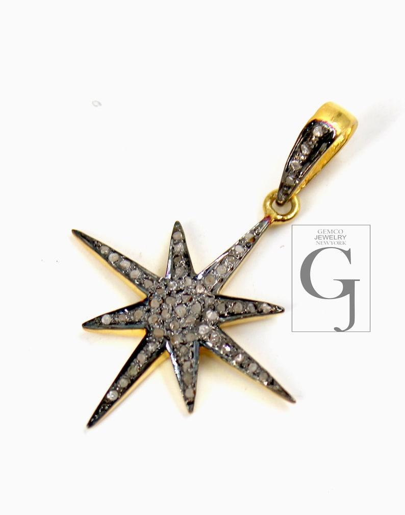 Star burst design Rosecut pave diamond pendant 925 sterling silver handmade finish beautiful diamond pendant jewelry