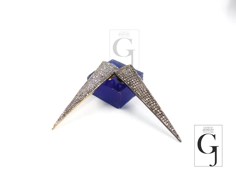 Gold antique look spike pendant charm Rosecut pave diamond pendant 925 sterling silver handmade finish diamond charms necklace pendant