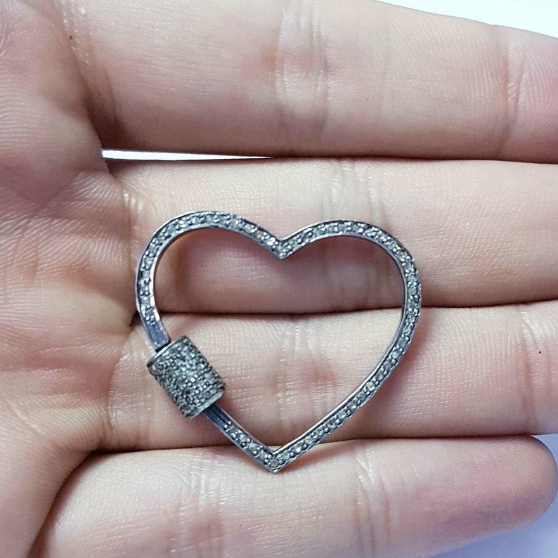 Pave diamond clasp screw design heart shaped Rocecut pave diamond lock 925 sterling silver diamond  handmade finish diamond charm