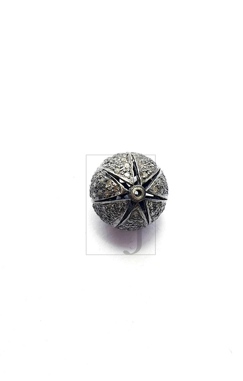 Pave diamond water melon shape bead Rosecut pave diamond beads 925 sterling silver handmade silver finish diamond beads