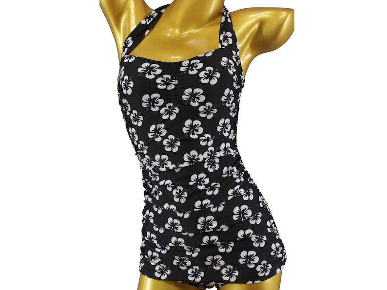 4dcb70235e4bd8 S M L XL Damen Vintage Badeanzug Bademode Flower Hibiskus | Etsy
