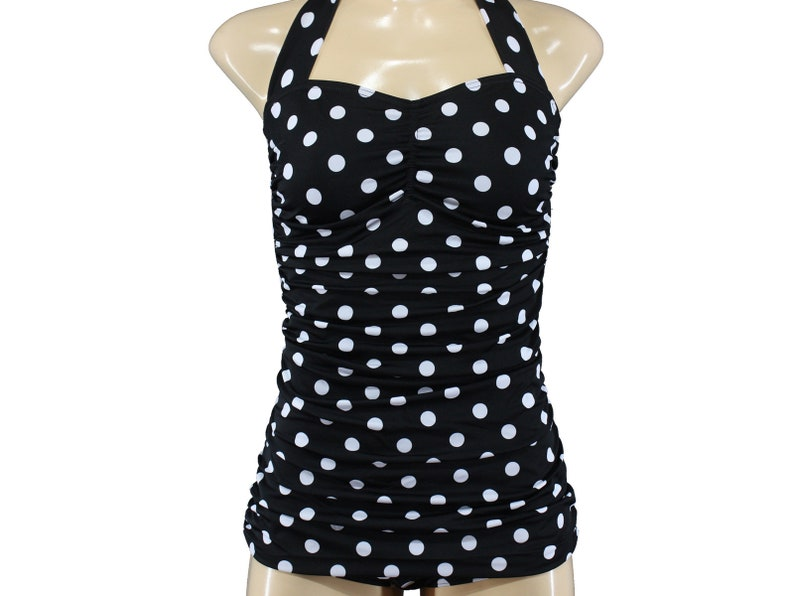 c5e75ad94f05a9 S M L XL Polka Dots Vintage gepunkteter Badeanzug getupft | Etsy