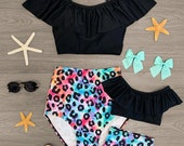 Mommy Me Matching Tie Dye Cheetah Two Piece Swimsuit Girls Cheetah Swimsuit Cheetah Swimsuit Cheetah Bikini Tie Dye Swimsuit