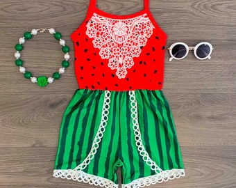 27ace2b31f68 Girls Watermelon Lace Romper | Girls Watermelon Oufit | Girls Watermelon  Romper | Girls Summer Oufit | Girls Summer Romper