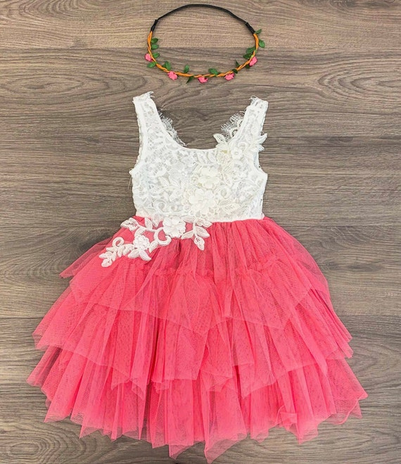 Red White Tulle Dress Girls Etsy