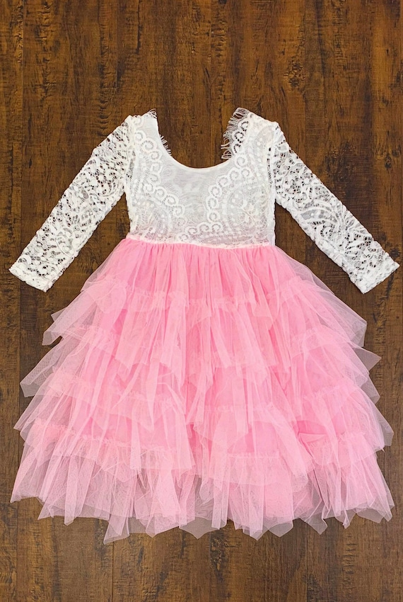 Girls Pink And White Tulle Dress Girls Lace Tutu Dress Girls Pink White Dress Long Sleeve Dress