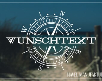 Wunschtext Kompass Aufkleber